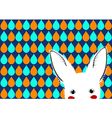 White Rabbit Blue Green Orange Drops Background vector image vector image