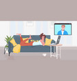 woman lying on sofa chatting with boyfriend in web vector image vector image