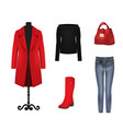 women set coat sweater pants bag and boots vector image vector image