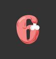 number 6 meat pork and bone font six ham alphabet vector image