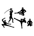 set of black silhouette ninjas on white background