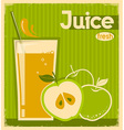 red apple juice on old paper vintage card vector image