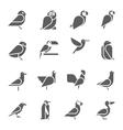 Set of bird icons on white background vector image