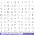 100 administration icons set outline style vector image