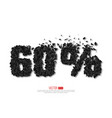 60 percent abstract sale sign vector image
