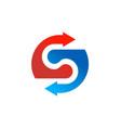 arrow letter s company logo vector image