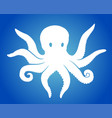 art with octopus silhouette on blue background vector image