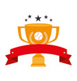 baseball sport trophy emblem icon vector image vector image