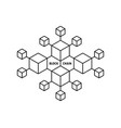 blockchain icon like thin line boxes vector image