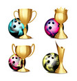 bowling game award set bowling ball vector image vector image
