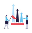 business women with flag and chart arrows vector image vector image