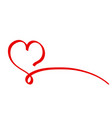 calligraphy red ribbon heart on white background vector image vector image