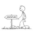 cartoon man or hiker with backpack hiking on vector image vector image