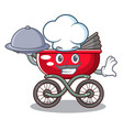 chef with food baby sitting in a baby stroller vector image vector image