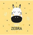 childish poster with cute zebra vector image