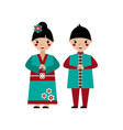 chinese boy and girl folded their hands vector image