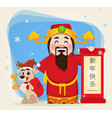 chinese god of wealth holding scroll with vector image vector image