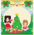Christmas background with Christmas tree and girls vector image