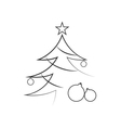Christmas tree flat isolated vector image