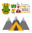 climbing trekking equipment set vector image vector image