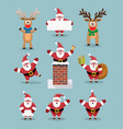 collection of cute cartoons of santa claus vector image vector image