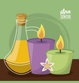 color poster of spa center with set of candles and vector image vector image