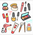 cosmetic and beauty product doodle collection vector image