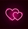 couple hearts neon sign vector image vector image
