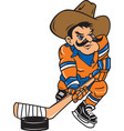 cowboy sports hockey logo mascot vector image vector image