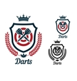 Darts emblems or signs set vector image