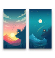 day and night flat mountain landscape with vector image vector image