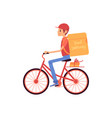 delivery man riding bicycle and shipping thermo vector image vector image