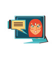 face woman in computer monitor and speech bubble vector image vector image