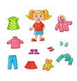 flat cartoon girl wardrobe objects set vector image vector image