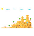 flat design ancient mud houses background vector image vector image