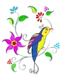 Flowers with bird vector image vector image