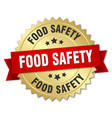 food safety round isolated gold badge vector image vector image