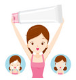 girl carrying packaging and cleaning face vector image