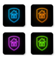 glowing neon house under protection icon isolated vector image vector image