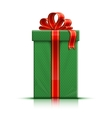 Green gift box with red silk ribbon and bow vector image vector image