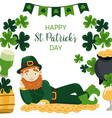 happy st patricks day banner leprechaun lying on vector image vector image