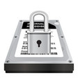 harddisk storage with a steel master lock protect vector image