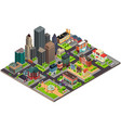 isometric design of city streets and buildings vector image