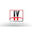 iy i y logo letters with red and black colors and vector image vector image