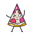kawaii cute funny slice pizza food vector image vector image