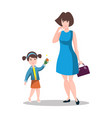 little daughter gives mom a gift for mother s day vector image vector image