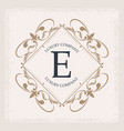 luxury company e monogram decorative crest vector image vector image