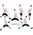 man in Basketball pose on white background vector image vector image