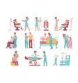 nurse flat icon set vector image