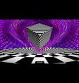 optical illusion cube retro op art purple vector image